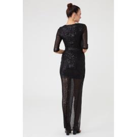 Rochie lunga cu paiete Selena negru