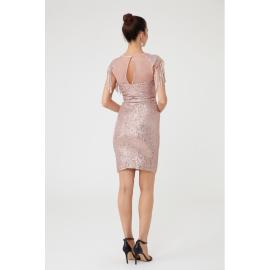Rochie de seara cu paiete si epoleti Dariana roz