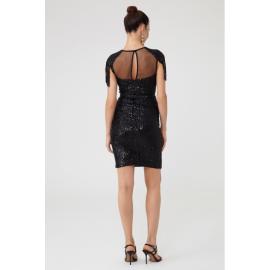 Rochie de seara cu paiete si epoleti Dariana negru