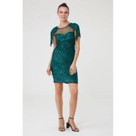Rochie de seara cu paiete si epoleti Dariana verde