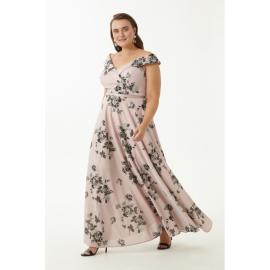 Rochie lunga Plus Size cu imprimeu floral  Aliona roz