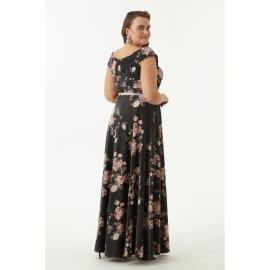 Rochie lunga Plus Size cu imprimeu floral  Aliona negru