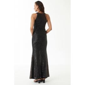 Rochie lunga cu paiete si model tip plasa Estera