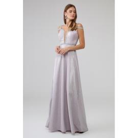 Rochie lunga accesorizata cu paiete Sara roz