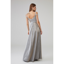 Rochie lunga accesorizata cu paiete Sara argintiu
