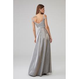 Rochie lunga cu aplicatii Sara argintiu