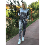 Trening dama din catifea Moda argintiu