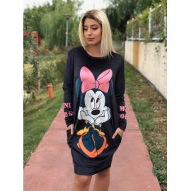 Rochie midi din catifea cu desene si buzunare Minnie Mouse