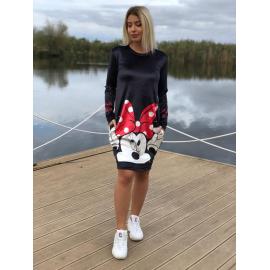 Rochie midi din catifea model Minnie Mouse cu buline