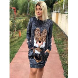Rochie midi din catifea model Minnie Mouse leopard