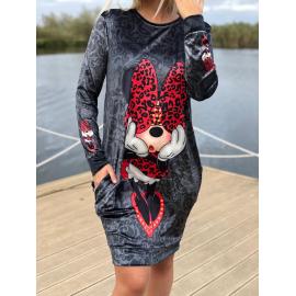 Rochie midi din catifea model Minnie Mouse leopard rosu