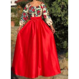 Rochie lunga rosie cu model floral Gypsy