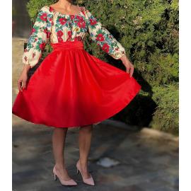 Rochie scurta rosie cu model floral Gypsy