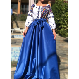 Rochie lunga cu motive geometrice Matilda albastru