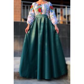 Rochie lunga cu motive traditionale Mara verde