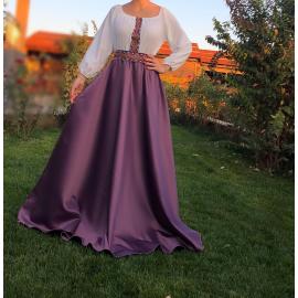 Rochie lunga din tafta cu broderie multicolora Yasmina