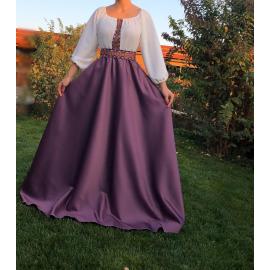 Rochie lunga din tafta cu broderie multicolora Yasmina mov