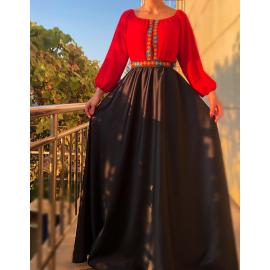 Rochie lunga din tafta cu broderie multicolora Yasmina rosu