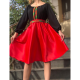 Rochie scurta din tafta cu broderie multicolora Yasmina negru