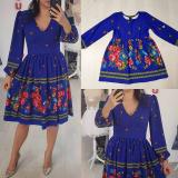 Set rochii Mama-Fiica cu model traditional Ana albastru