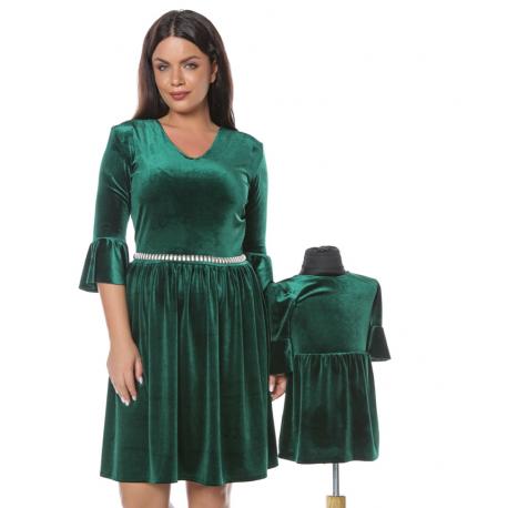 Set Rochii Mama-Fiica Velvet Verde