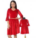 Set Rochii Mama-Fiica Velvet Rosu