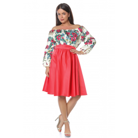 Rochie scurta cu model floral Gypsy rosu