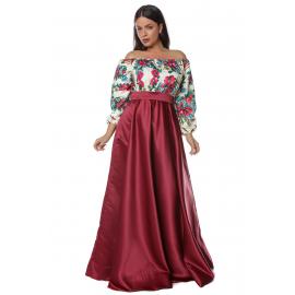 Rochie lunga bordo cu model floral Gypsy