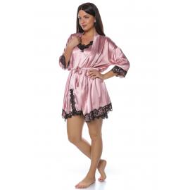 Set pijamale 2 piese din satin Dalia roz