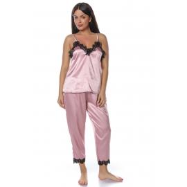 Set pijamale din satin roz