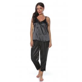 Set pijamale din satin negru