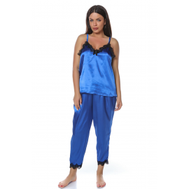 Set pijamale din satin albastru