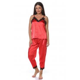 Set pijamale din satin rosu
