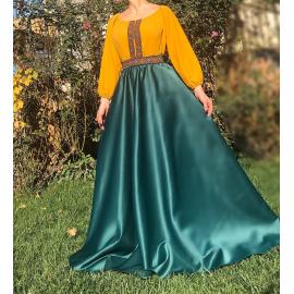 Rochie lunga din tafta cu broderie multicolora Yasmina verde