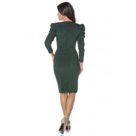 Rochie midi din lurex Kamy verde