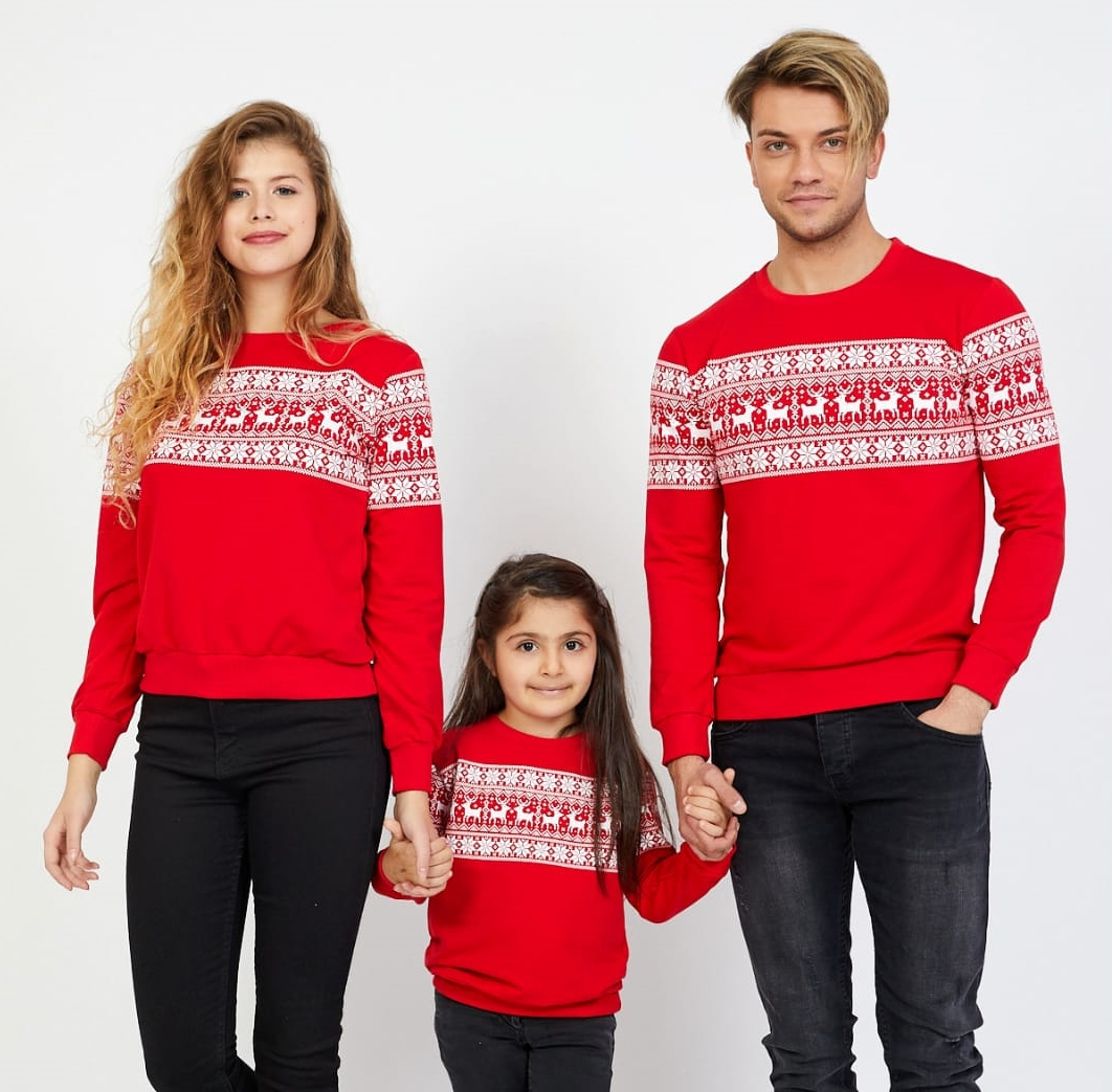 Set Bluze Winter Family Rosu