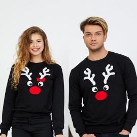 Set bluze pentru El si Ea Reindeer negru