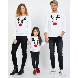 Set Bluze Reindeer Family alb
