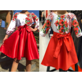 Set rochii Mama-Fiica cu motive traditionale Loret scurt