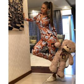 Pijama dama tip salopeta cu imprimeu Ursulet