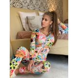 Pijama dama tip salopeta cu Desene