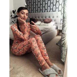 Pijama dama tip salopeta Coffee