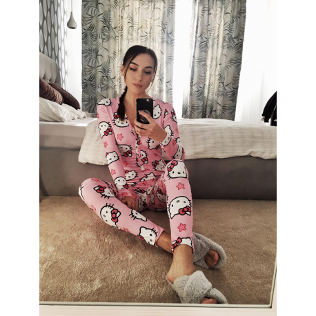 Pijama dama tip salopeta Hello Kitty