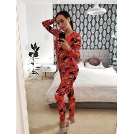 Pijama dama tip salopeta Cookie Portocaliu