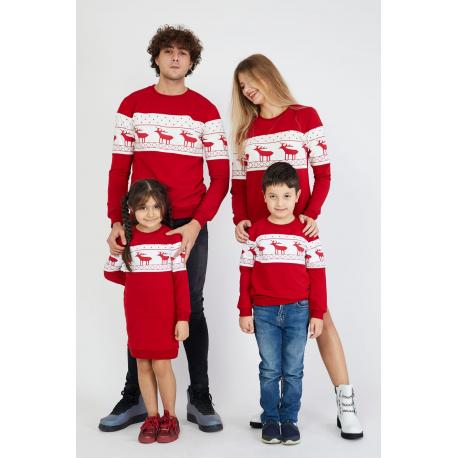 Set Bluze cu motive de iarna Family rosu