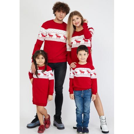 Set Family 4 piese cu motive de iarna rosu