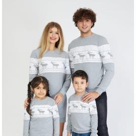 Set Bluze cu motive de iarna Family gri
