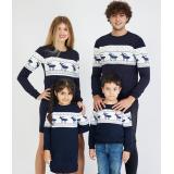 Set Family 4 piese cu motive de iarna bleumarin