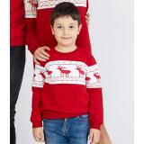Bluza copil cu motive de iarna rosu