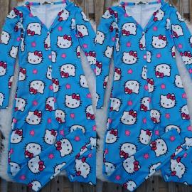 Pijama dama tip salopeta Hello Kitty albastru